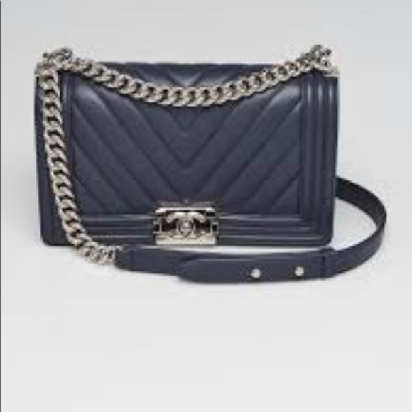 ae51b4222f72 CHANEL Bags | Medium Size Chevron Navy Boy Bag | Poshmark